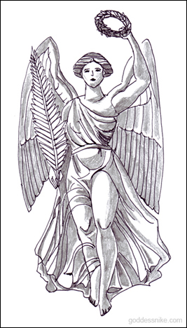 Goddess Nike by Paionios drawn by Shem for this site. Referenced from A.S. Murray's 'The Manual of Mythology'.