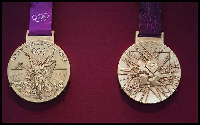 Goddess Nike by Paionios on the London Olympic Games Medal photographed by Nagarjun at Flickr.