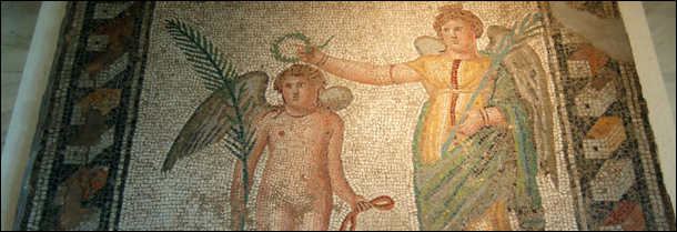 Nike Crowning Olympic Athlete, Mosaic Floor at Olympia, Greece photographed by Robert Wallace at Flickr.