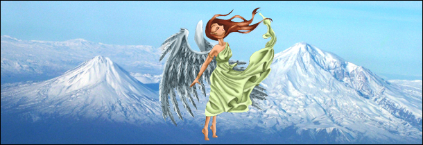 Goddess Nike by Deviantartist Megadee and Mount Ararat sourced from Wikipedia.